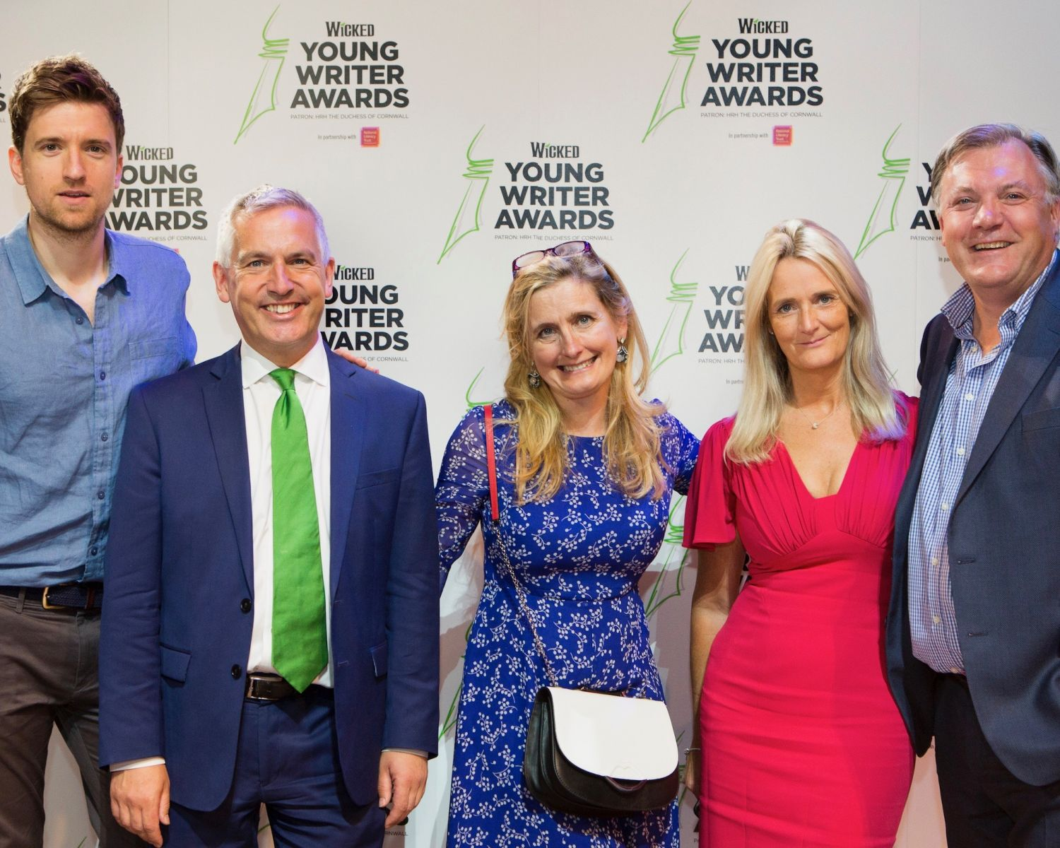 From L-R: Host Greg James, Wicked Young Writer Awards judges Jonathan Douglas, Cressida Cowell, Nicky Cox and Ed Balls Photo Credit: Ellie Kurttz